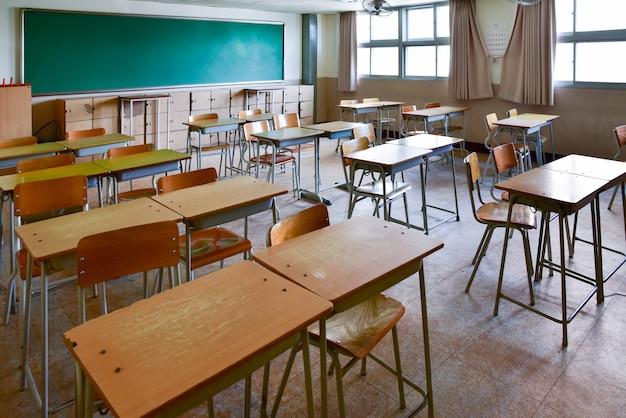 Aula de la escuela con pupitres y pizarra en la escuela secundaria de corea del sur.