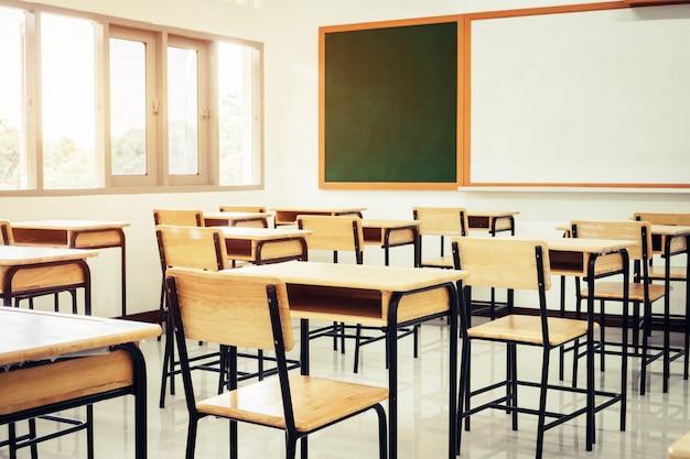 Aula de la escuela vacía con escritorios, silla de madera, pizarra verde y pizarra en la escuela secundaria