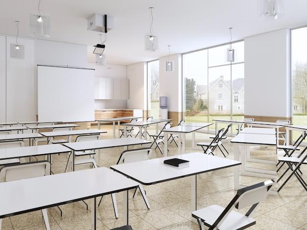 Aula moderna con grandes ventanales panorámicos y escritorios blancos, interior luminoso. representación 3d