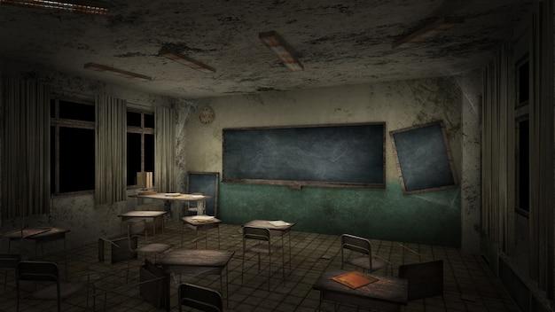 Aula de terror y espeluznante en la escuela. representación 3d