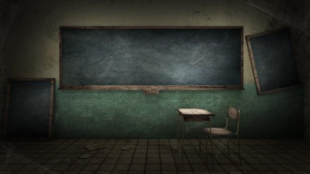 Aula de terror y espeluznante en la escuela.