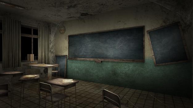 Aula de terror y espeluznante en la representación 3d de la escuela