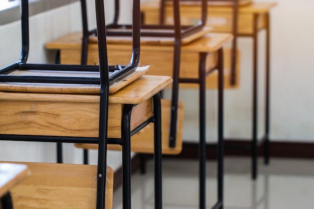 Aula vacía de la escuela, sala de conferencias con escritorios y sillas de madera de hierro para estudiar