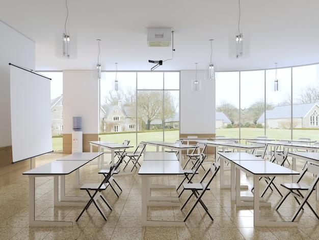 Aula vacía para estudiantes con equipamiento moderno y cocina. representación 3d.
