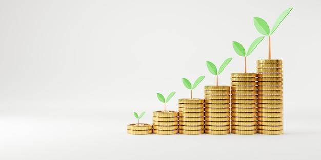 Aumento realista de monedas apiladas y planta de crecimiento con espacio de copia para el concepto de ahorro de depósito de dinero e inversión de ganancias, técnica de renderizado 3d