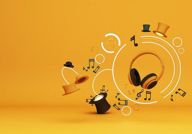 Auriculares amarillos con música de nota y sombreros coloridos sobre fondo amarillo representación 3d