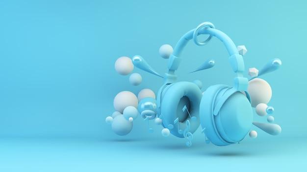 Auriculares azules rodeados de esferas geométricas render 3d de fondo