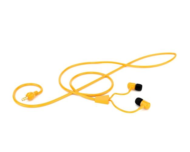 Los auriculares del concepto de la música con un cable amarillo bajo la forma de clave de sol aislados en el fondo blanco. 3d ilustración