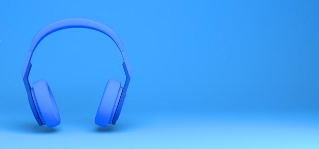 Auriculares modernos en la ilustración 3d de fondo azul. bandera. abstracto.