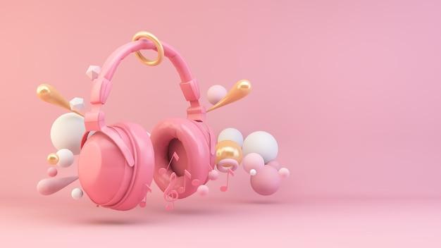Auriculares rosados rodeados de formas geométricas render 3d
