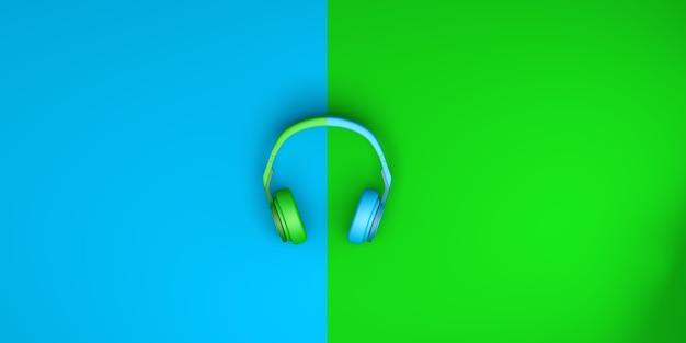 Auriculares sobre fondo azul y verde. vista superior. endecha plana. ilustración 3d. bandera.