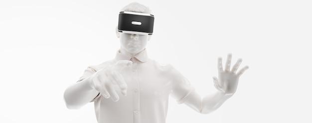 Auriculares vr, tecnología. render 3d del hombre, con gafas de realidad virtual sobre fondo blanco.