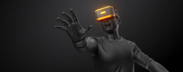 Auriculares vr, tecnología. render 3d del hombre, con gafas de realidad virtual sobre fondo negro.