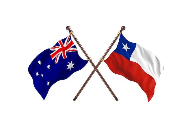 Australia versus fondo de banderas de chile