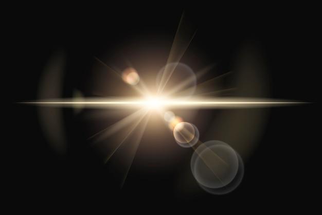 Auténtico destello de lente anamórfica con efecto de anillo fantasma