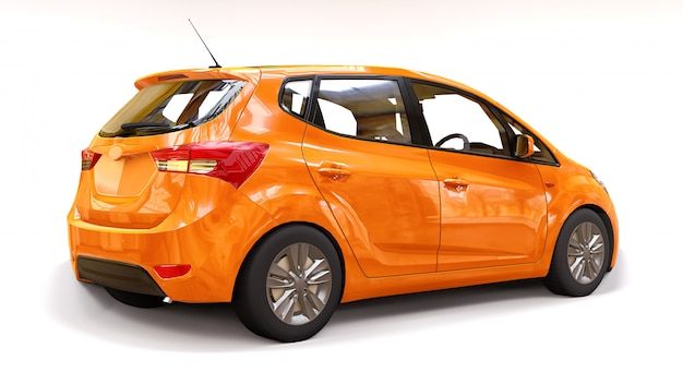 Auto naranja con superficie brillante