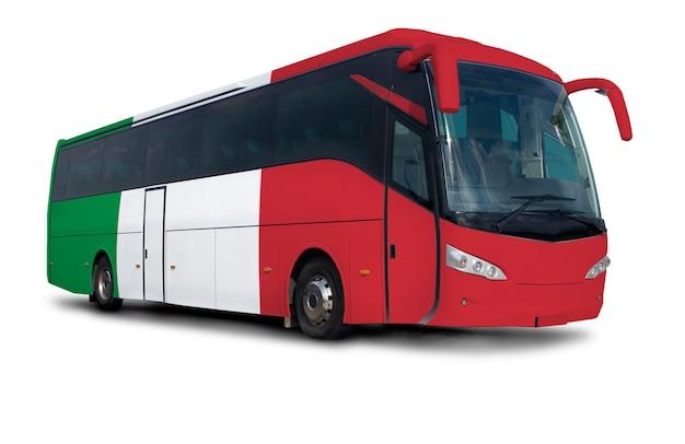 Autobús con bandera de italia