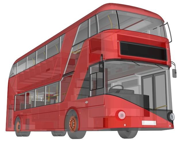 Un autobús de dos pisos, una carcasa translúcida debajo de la cual se ven muchos elementos interiores y partes internas del autobús.