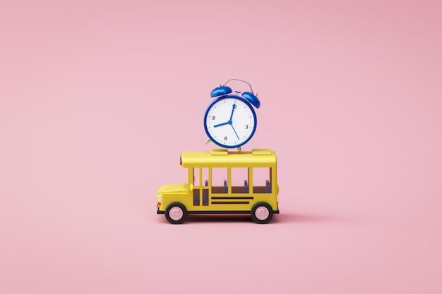 Autobús escolar amarillo y despertador azul que suena en fondo rosado con de nuevo a concepto de la escuela. tiempo de aprendizaje o educación. representación 3d