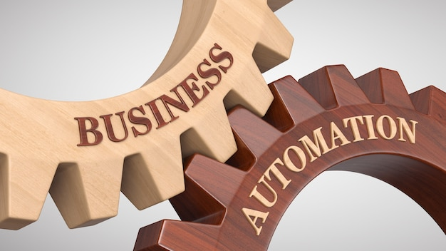 Automatización empresarial escrita en la rueda dentada