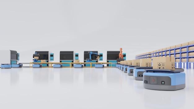 Automatización de fábrica con vehículo guiado automatizado y brazo robótico.
