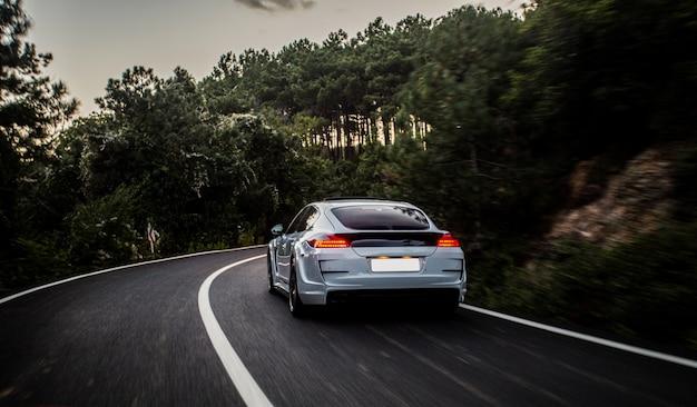 Un automóvil deportivo con autoajuste blanco y negro que conduce al bosque.