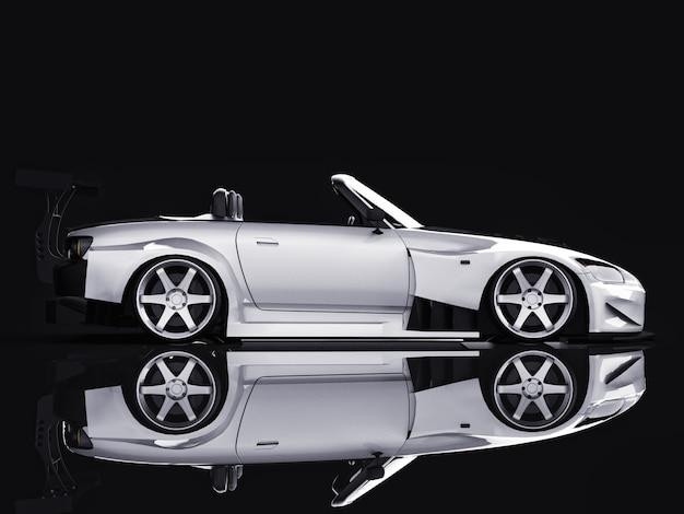 Automóvil descapotable deportivo gris moderno deportivo abierto con tuning