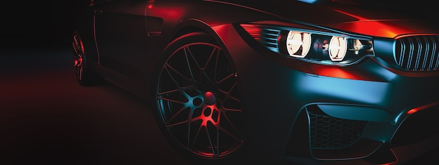 Los autos modernos están en la sala de estudio. ilustración 3d y render 3d.