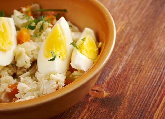Aveyron estofinade - aperitivo francés de bacalao seco cocina del país.
