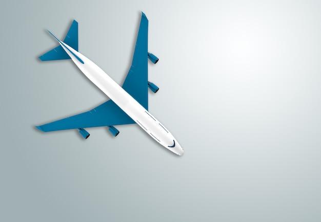 Avion azul y blanco aislado