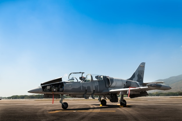 Avión de combate f-16 de la fuerza aérea real, avión en la pista