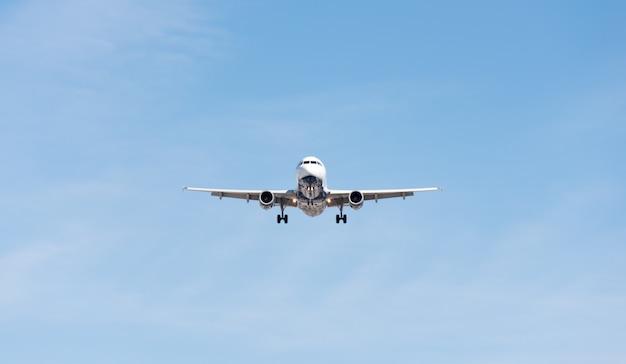 Avión comercial volando en cielo azul, solapa completa y tren de aterrizaje extendido