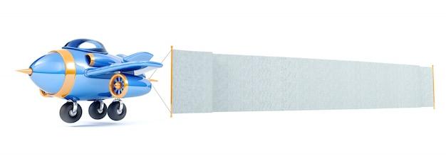 Avión de dibujos animados volando con bandera de tela larga