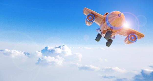 Avión de dibujos animados volando por encima de las nubes, representación 3d