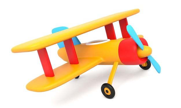 Avión de juguete aislado sobre fondo blanco.