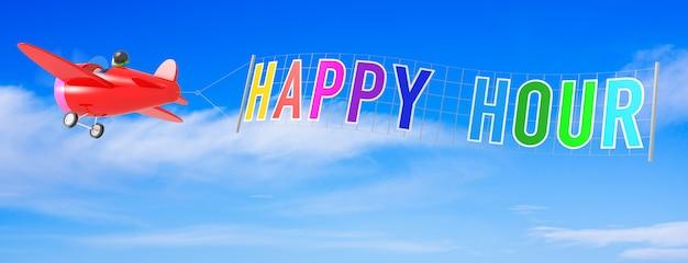 Aviones de dibujos animados con la bandera de la hora feliz representación 3d