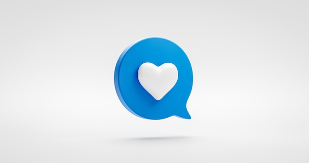 Azul como signo de icono de corazón o elemento gráfico de ilustración de medios de amor social favorito aislado en símbolo de comentario de notificación con concepto de seguidores de burbujas de discurso. representación 3d.
