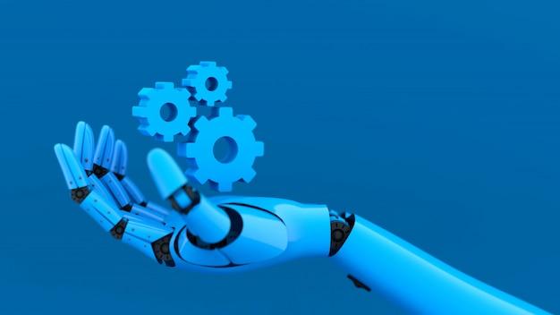 Azul robot mano y rueda dentada