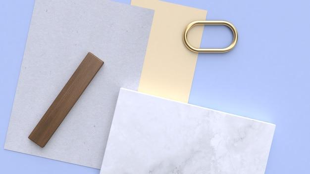 Azul-violeta-azul forma geométrica mínima 3d rendering flay lay paper