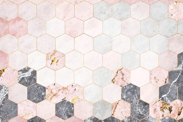 Azulejos de mármol rosa hexagonal con dibujos