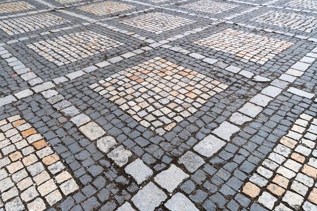 Azulejos de textura. patrón del antiguo adoquín alemán en el centro de la ciudad
