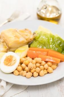 Bacalao hervido con patata, zanahoria, repollo, garbanzos y huevo en un plato blanco