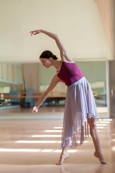 Bailarina de ballet clásico posando en barre en sala de ensayo