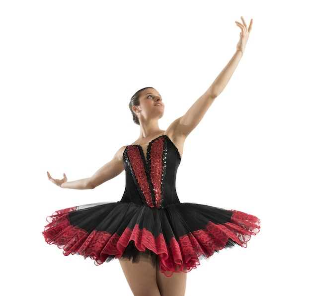 Bailarina clásica posando antes de llegar a la escena