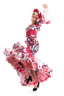 Bailarina de flamenco en un hermoso vestido