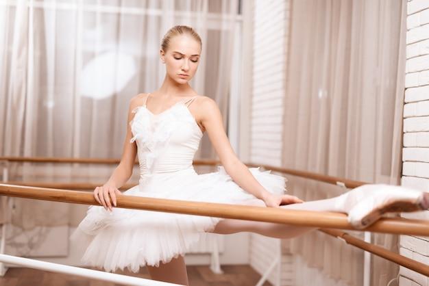Bailarina profesional ensaya cerca de la barra de ballet.