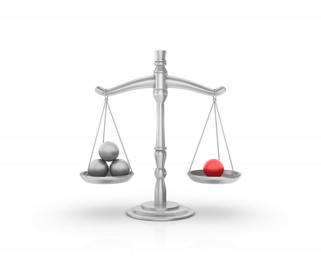Balanza de peso legal con esferas