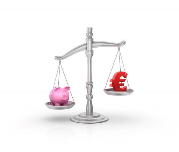 Balanza de peso legal con hucha y símbolo del euro