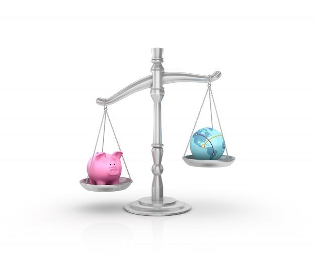 Balanza de peso legal con piggy bank y globe world
