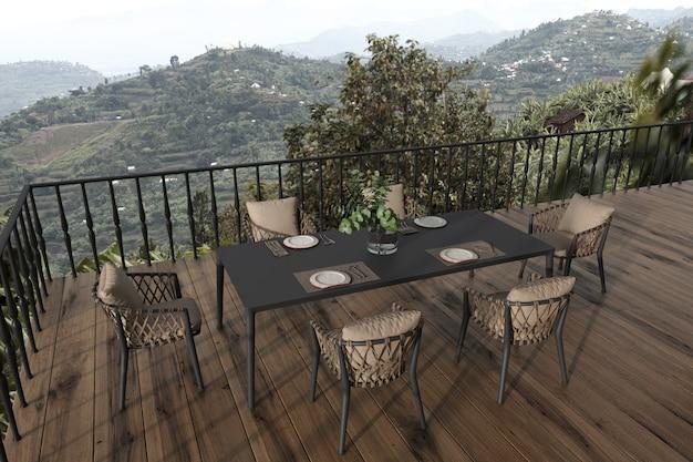 Balcón de diseño interior moderno escandinavo con mesa de comedor y vista de la naturaleza ilustración de render 3d